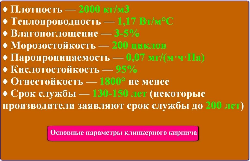 Основные свойства клинкерного кирпича